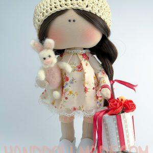 Авторская интерьерная кукла с зайцем